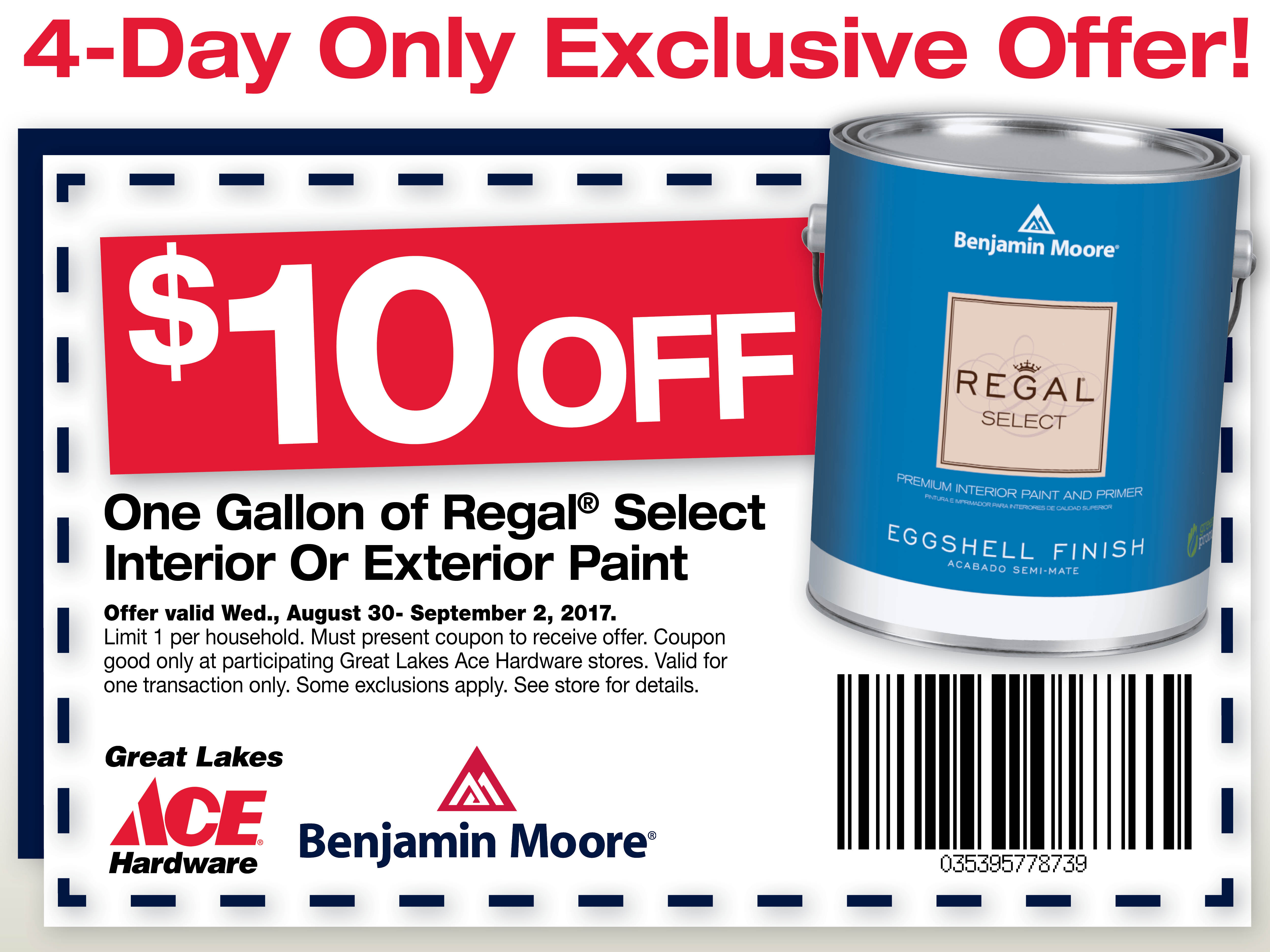 Save $10 on Benjamin Moore Paint